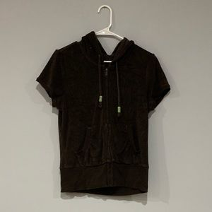 Brown Short Sleeve Hooded Zip Up